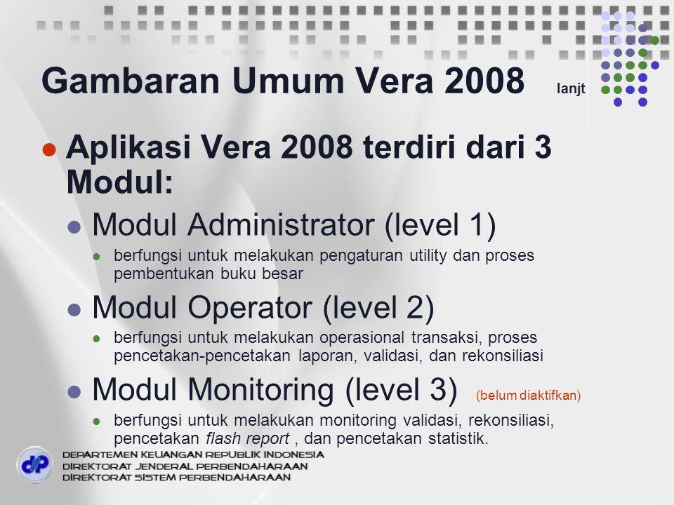 Gambaran Umum Vera 2008 lanjt Aplikasi Vera 2008 terdiri dari 3 Modul: Modul Administrator (level 1) berfungsi untuk melakukan pengaturan utility dan proses pembentukan buku besar Modul Operator (level 2) berfungsi untuk melakukan operasional transaksi, proses pencetakan-pencetakan laporan, validasi, dan rekonsiliasi.