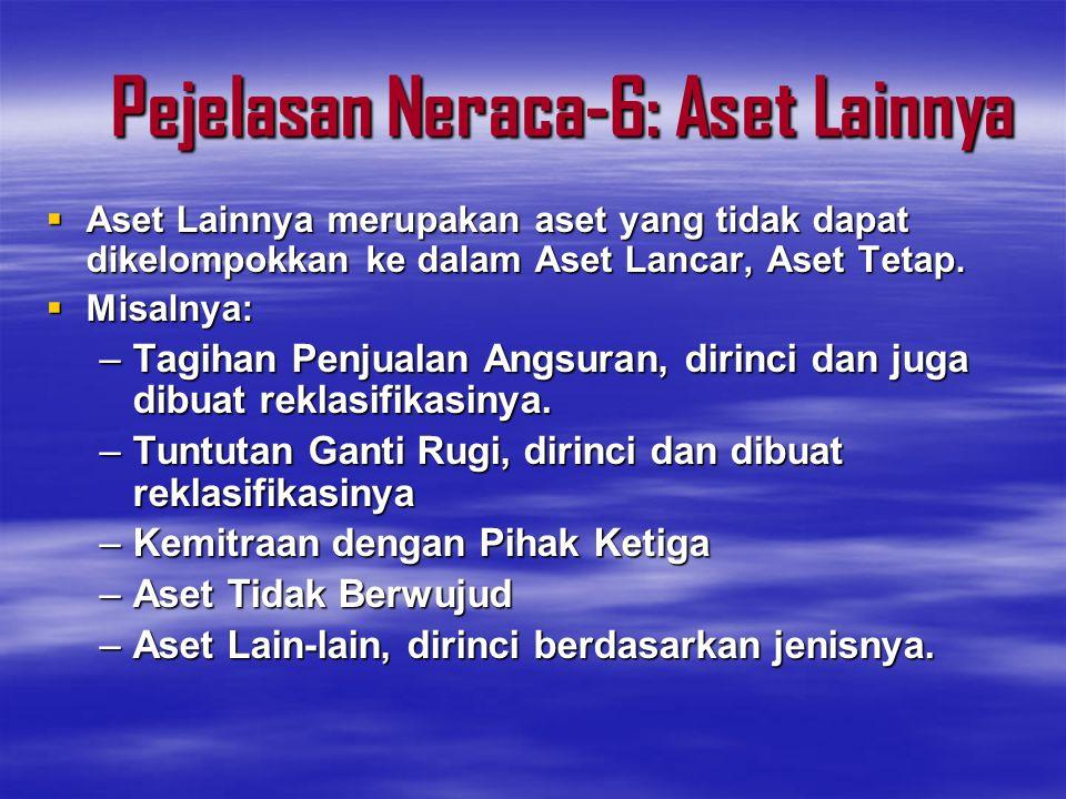 Pejelasan Neraca-6: Aset Lainnya  Aset Lainnya merupakan aset yang tidak dapat dikelompokkan ke dalam Aset Lancar, Aset Tetap.  Misalnya: –Tagihan P