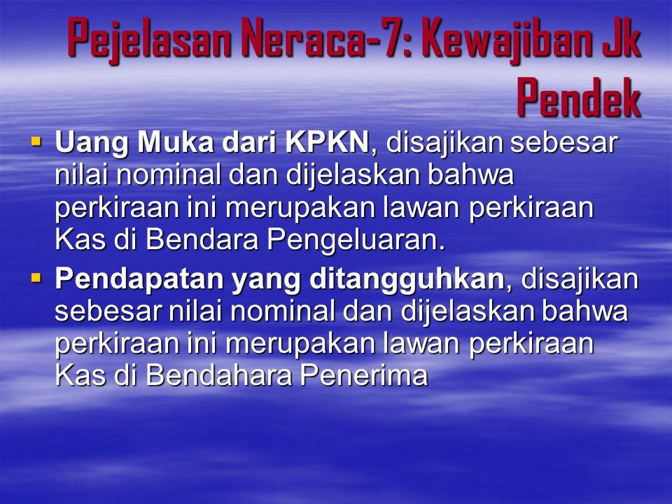Pejelasan Neraca-7: Kewajiban Jk Pendek  Uang Muka dari KPKN, disajikan sebesar nilai nominal dan dijelaskan bahwa perkiraan ini merupakan lawan perk