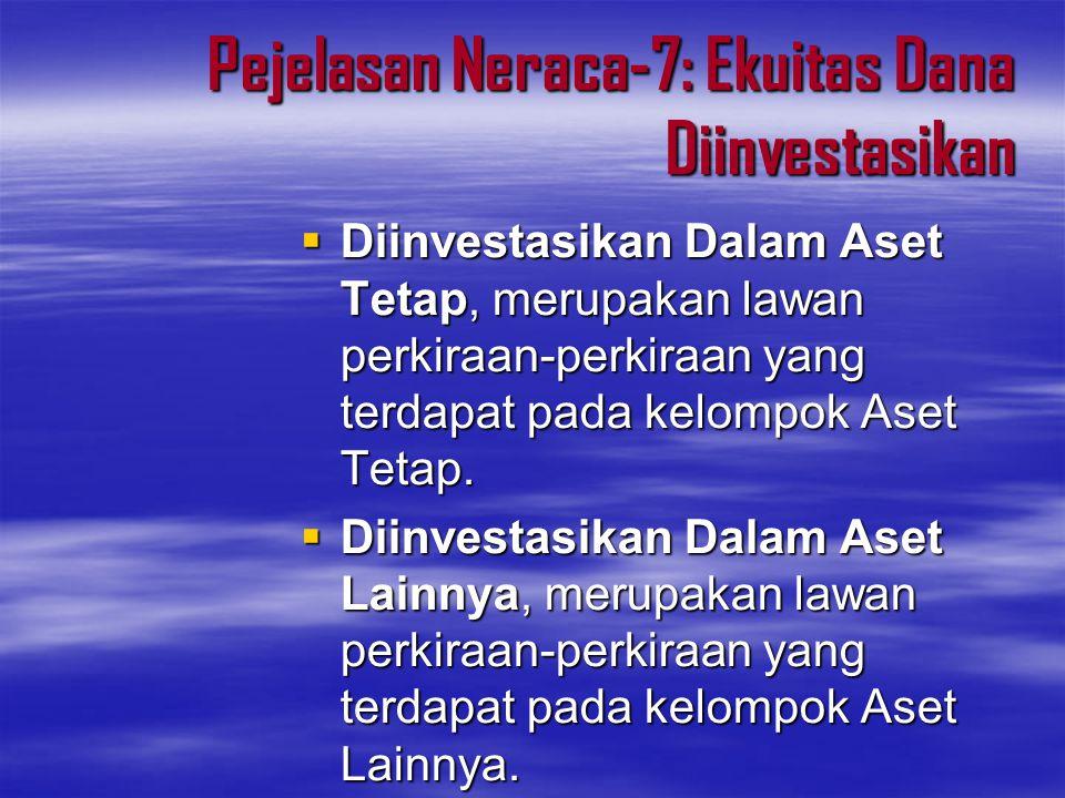 Pejelasan Neraca-7: Ekuitas Dana Diinvestasikan  Diinvestasikan Dalam Aset Tetap, merupakan lawan perkiraan-perkiraan yang terdapat pada kelompok Ase