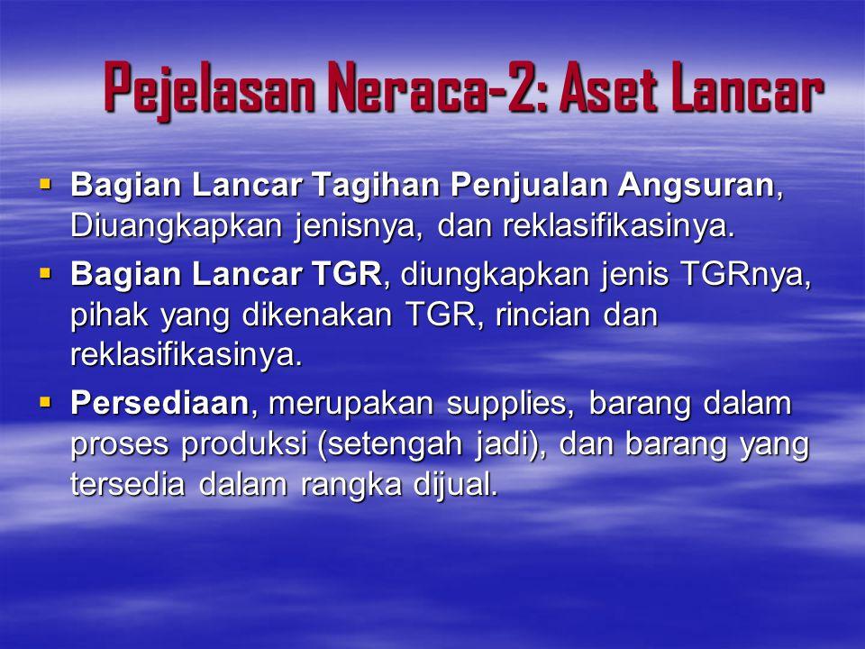 Pejelasan Neraca-3: Aset Lancar  Persediaan disajikan sebesar –Biaya perolehan apabila didapat dengan pembelian –Biaya standar apabila diperoleh dengan memprodusi sendiri.
