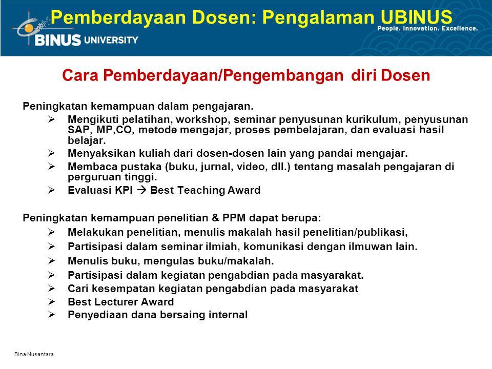 Bina Nusantara Pemberdayaan Dosen: Pengalaman UBINUS Cara Pemberdayaan/Pengembangan diri Dosen Dosen baru perlu diberikan penambahan wawasan baru:  P