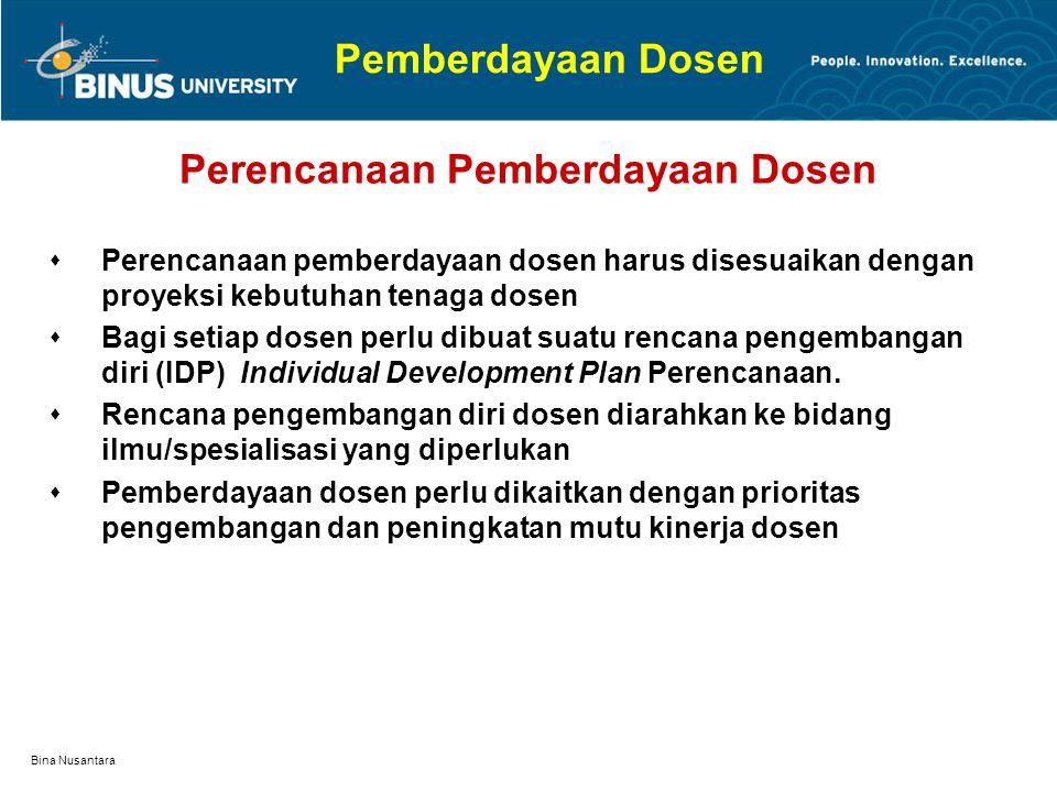 Bina Nusantara Pemberdayaan Dosen: Pengalaman UBINUS Cara Pemberdayaan/Pengembangan diri Dosen Peningkatan kemampuan dalam pengajaran.  Mengikuti pel