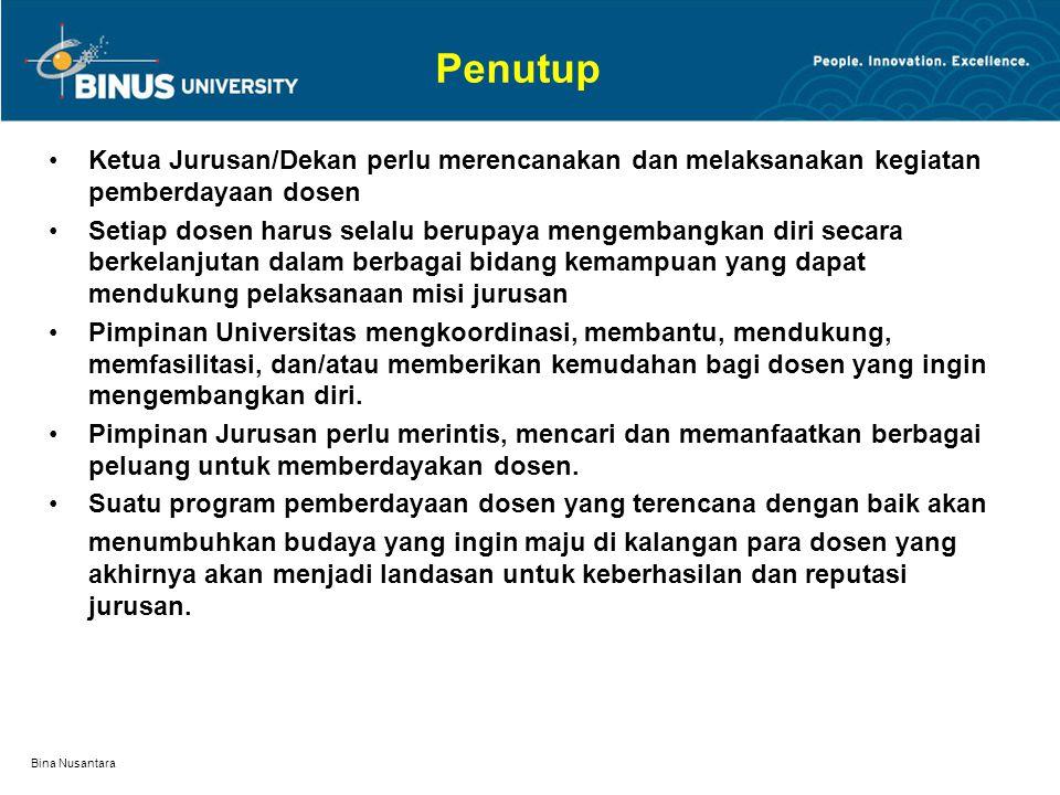 Bina Nusantara Pemberdayaan Dosen Perencanaan Pemberdayaan Dosen  Perencanaan pemberdayaan dosen harus disesuaikan dengan proyeksi kebutuhan tenaga d