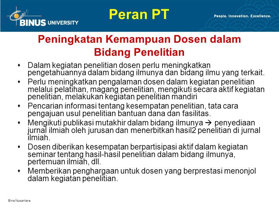 Bina Nusantara Peningkatan Kemampuan Dosen dalam Bidang Penelitian  Dalam kegiatan penelitian dosen perlu meningkatkan pengetahuannya dalam bidang ilmunya dan bidang ilmu yang terkait.