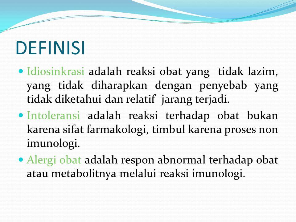 DEFINISI Idiosinkrasi adalah reaksi obat yang tidak lazim, yang tidak diharapkan dengan penyebab yang tidak diketahui dan relatif jarang terjadi. Into