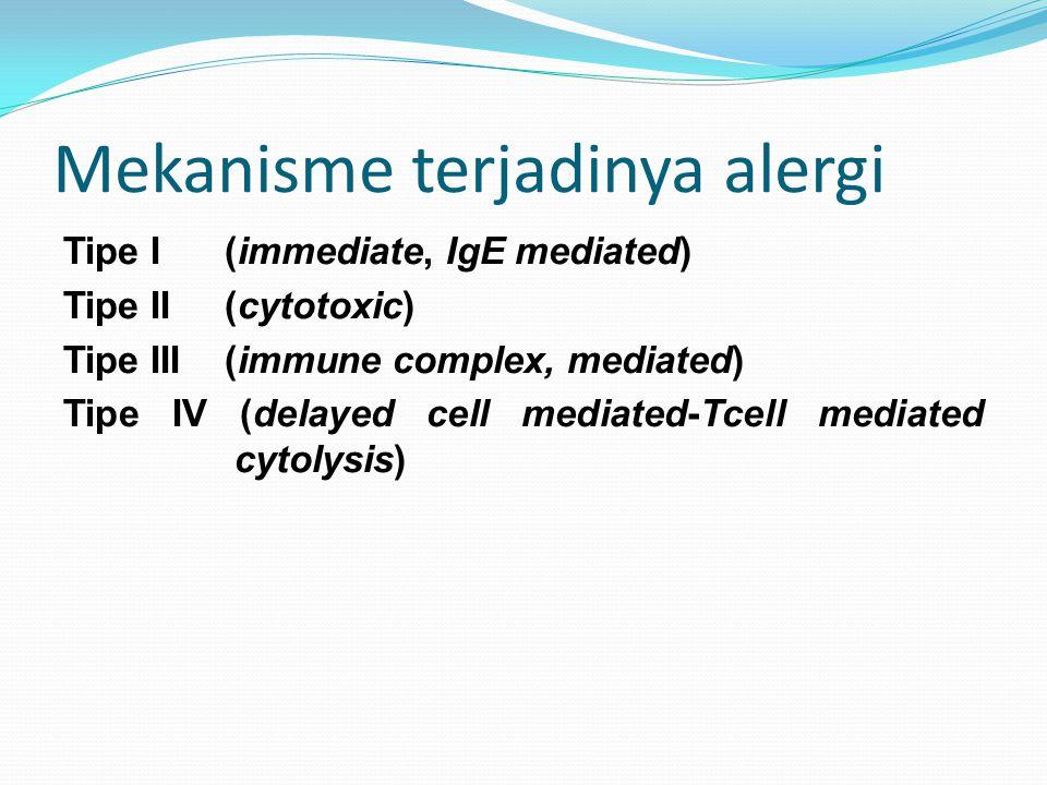 Mekanisme terjadinya alergi Tipe I (immediate, IgE mediated) Tipe II (cytotoxic) Tipe III (immune complex, mediated) Tipe IV (delayed cell mediated-Tc