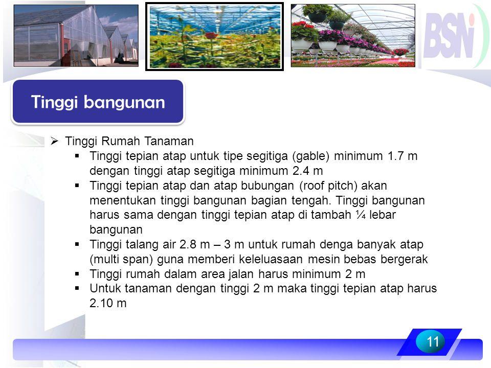  Tinggi Rumah Tanaman  Tinggi tepian atap untuk tipe segitiga (gable) minimum 1.7 m dengan tinggi atap segitiga minimum 2.4 m  Tinggi tepian atap d