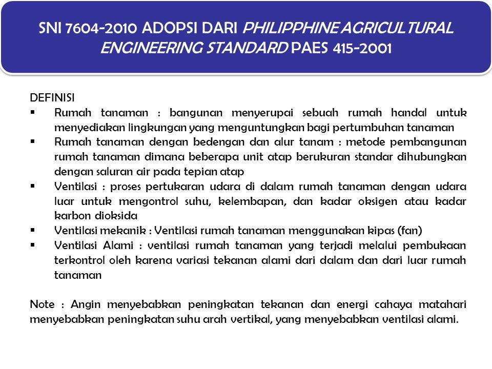 SNI 7604-2010 ADOPSI DARI PHILIPPHINE AGRICULTURAL ENGINEERING STANDARD PAES 415-2001 DEFINISI  Rumah tanaman : bangunan menyerupai sebuah rumah hand