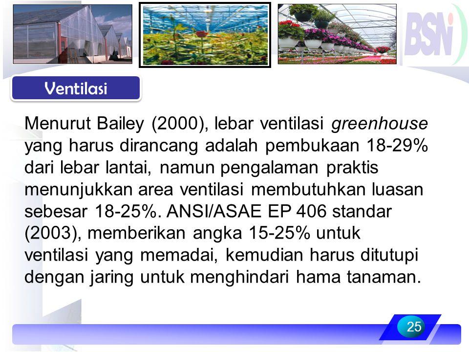 25 Ventilasi Menurut Bailey (2000), lebar ventilasi greenhouse yang harus dirancang adalah pembukaan 18-29% dari lebar lantai, namun pengalaman prakti