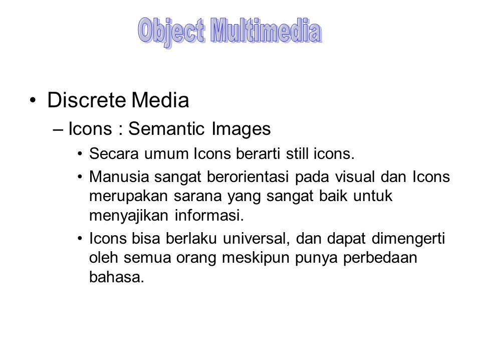 Discrete Media –Icons : Semantic Images Secara umum Icons berarti still icons. Manusia sangat berorientasi pada visual dan Icons merupakan sarana yang