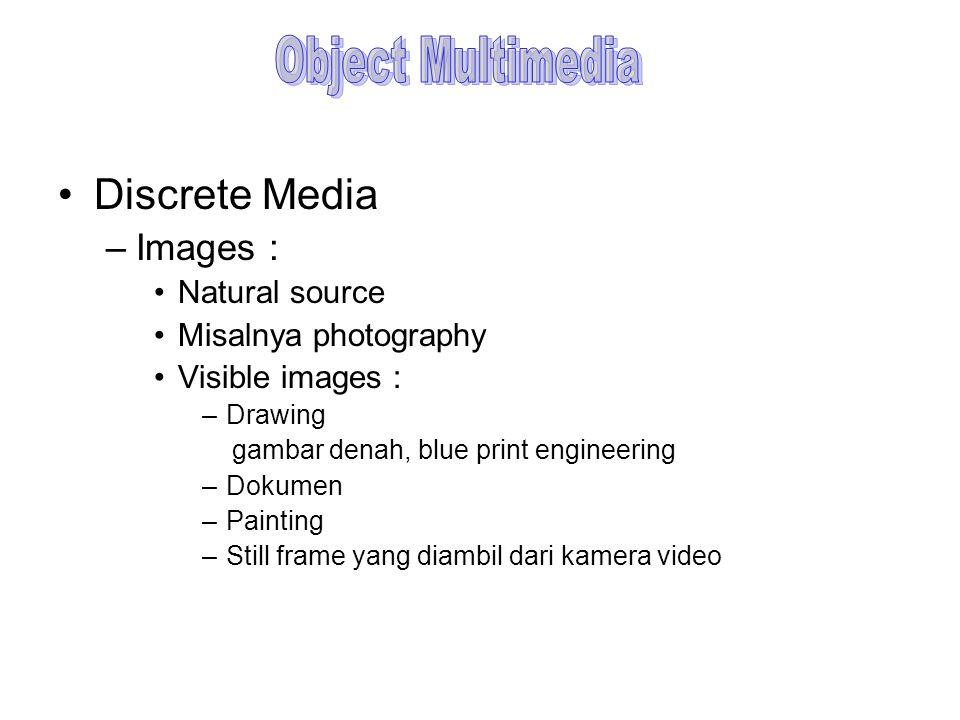 Discrete Media –Images : Non-Visible : adalah images yang tidak disimpan sebagai image, tetapi ditampilkan sebagai image.