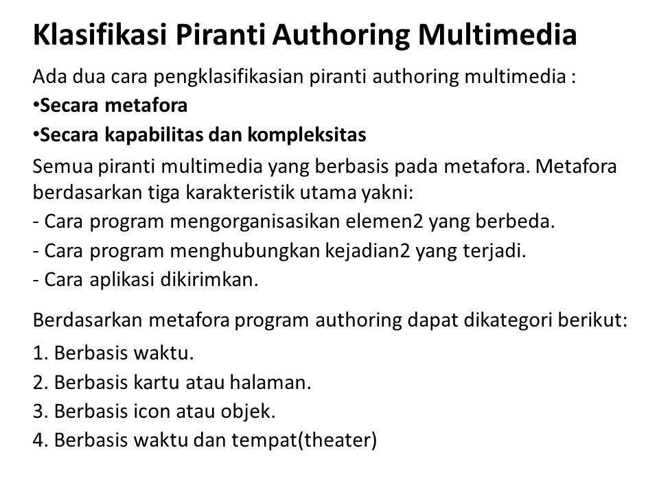 Klasifikasi Piranti Authoring Multimedia Ada dua cara pengklasifikasian piranti authoring multimedia : Secara metafora Secara kapabilitas dan kompleksitas Semua piranti multimedia yang berbasis pada metafora.