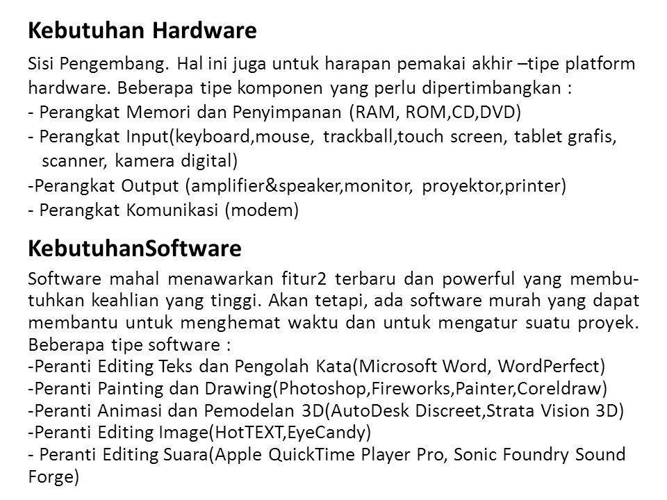 Kebutuhan Hardware Sisi Pengembang.