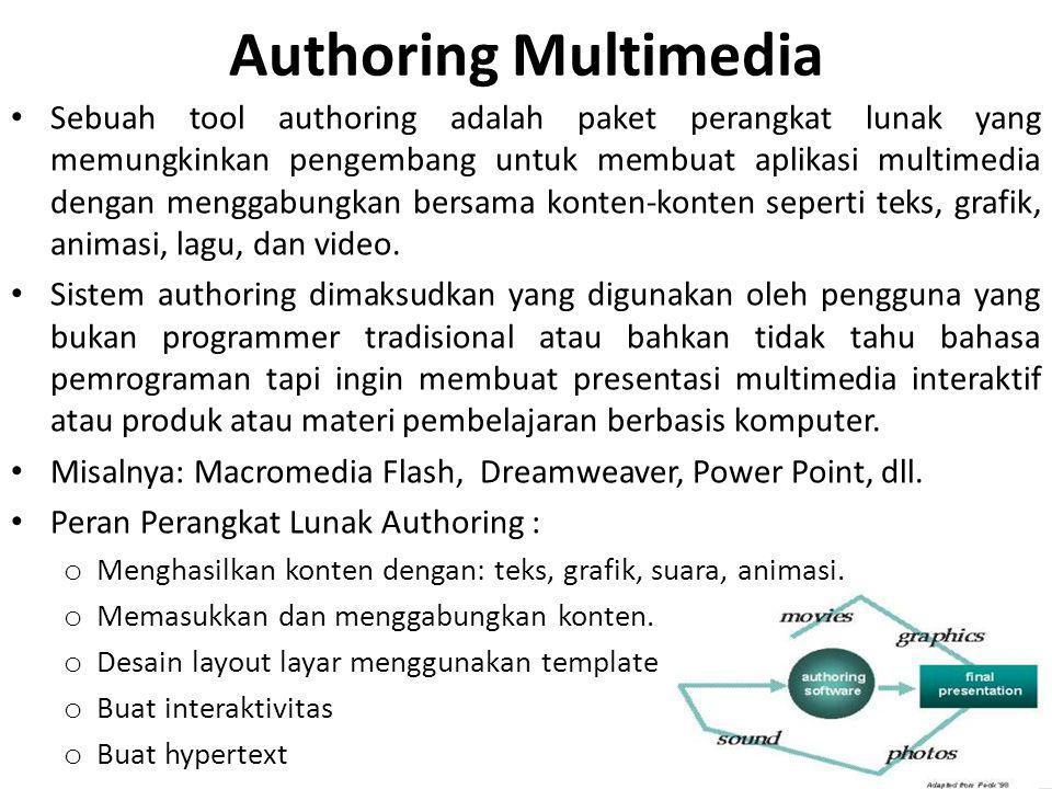 Authoring Multimedia Sebuah tool authoring adalah paket perangkat lunak yang memungkinkan pengembang untuk membuat aplikasi multimedia dengan menggabungkan bersama konten-konten seperti teks, grafik, animasi, lagu, dan video.