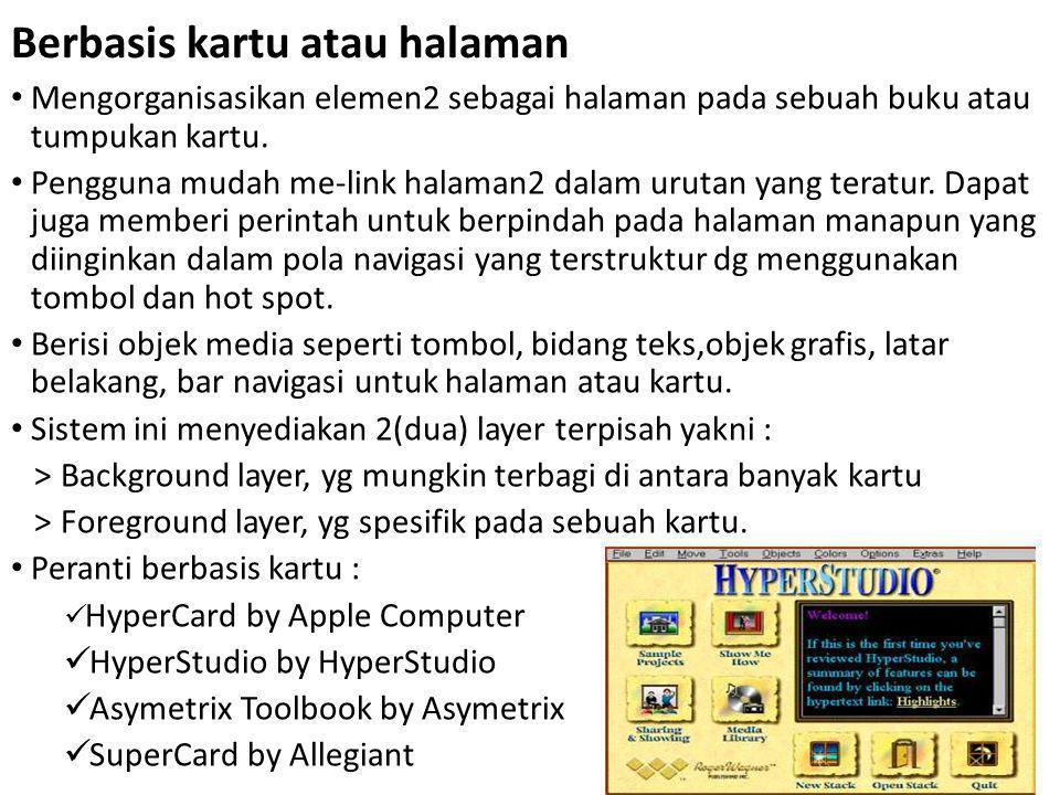 Berbasis kartu atau halaman Mengorganisasikan elemen2 sebagai halaman pada sebuah buku atau tumpukan kartu.