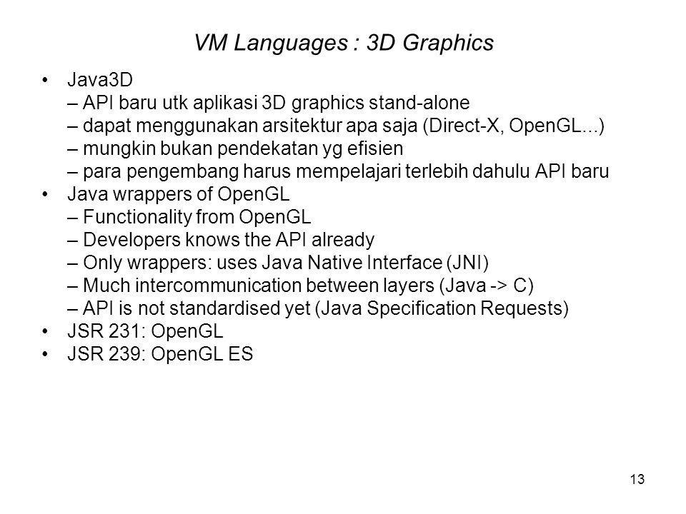 13 VM Languages : 3D Graphics Java3D – API baru utk aplikasi 3D graphics stand-alone – dapat menggunakan arsitektur apa saja (Direct-X, OpenGL...) – mungkin bukan pendekatan yg efisien – para pengembang harus mempelajari terlebih dahulu API baru Java wrappers of OpenGL – Functionality from OpenGL – Developers knows the API already – Only wrappers: uses Java Native Interface (JNI) – Much intercommunication between layers (Java -> C) – API is not standardised yet (Java Specification Requests) JSR 231: OpenGL JSR 239: OpenGL ES