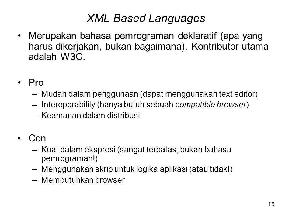 15 XML Based Languages Merupakan bahasa pemrograman deklaratif (apa yang harus dikerjakan, bukan bagaimana).