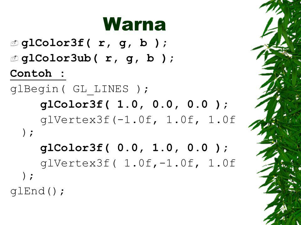 Warna  glColor3f( r, g, b );  glColor3ub( r, g, b ); Contoh : glBegin( GL_LINES ); glColor3f( 1.0, 0.0, 0.0 ); glVertex3f(-1.0f, 1.0f, 1.0f ); glCol