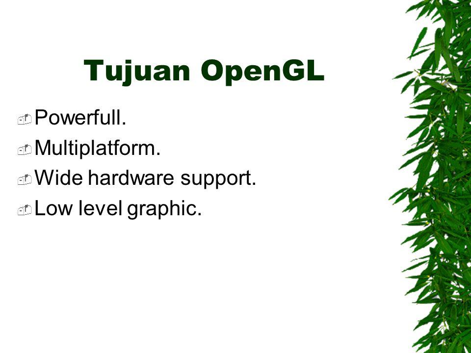 Sejarah OpenGL  Dikembangkan pertama oleh Silicon Graphic Inc.