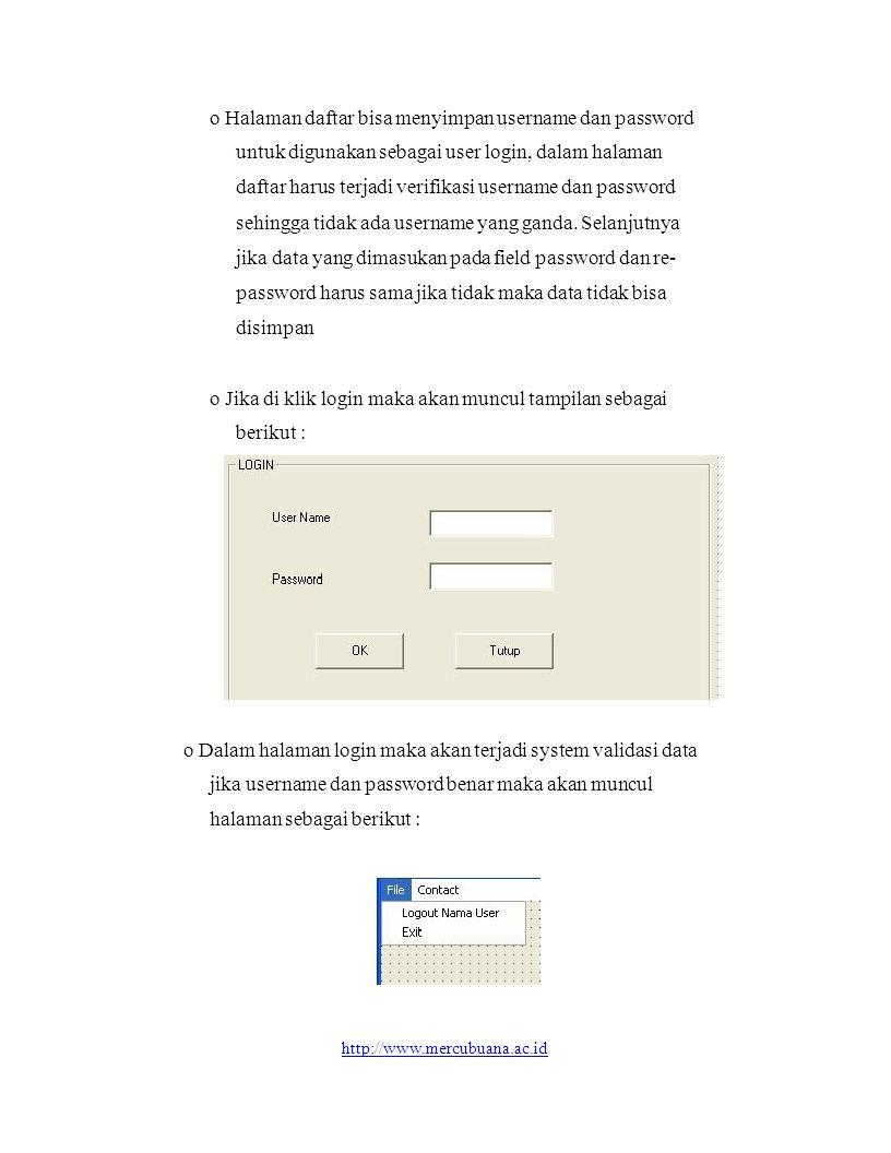 o Setelah login terdapat perubahan menu pull down yaitu dalam menu bar ada menu File yang berisi Logout dan Exit, menu Contact yang berisi Add Contact, List Contact dan Delete Contact seperti tampilan dibawah ini : o Selanjutnya jika di klik add contact maka akan muncul halaman yang berfungsi menyimpan alamat-alamat penting yang dapat di contact dengan field-field sebagai berikut : Nama, Alamat dan Phone o Jika di Klik Delete Contact maka akan muncul halaman yang berfungsi mendelete contact yang diinginkan o Jika diklik List Contact maka akan muncul halaman yang menampilkan seluruh contact yang ada o Untuk keluar atau logout harus mengklik logout pada menu bar file selanjut maka akan muncul halaman ketika aplikasi pertama kali dijalankan.