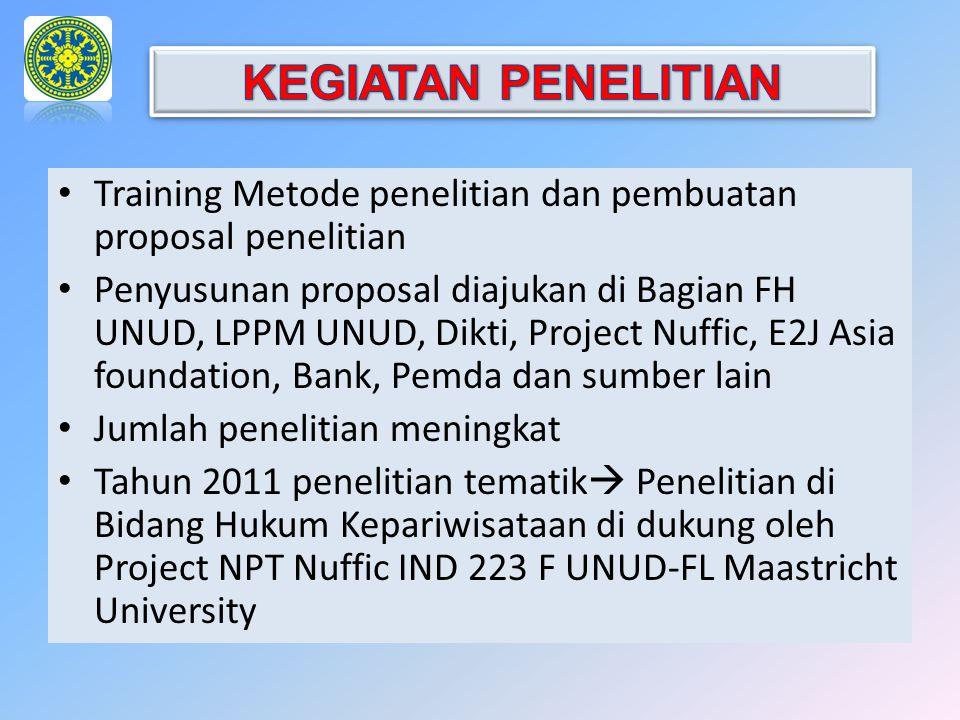 Training Metode penelitian dan pembuatan proposal penelitian Penyusunan proposal diajukan di Bagian FH UNUD, LPPM UNUD, Dikti, Project Nuffic, E2J Asi