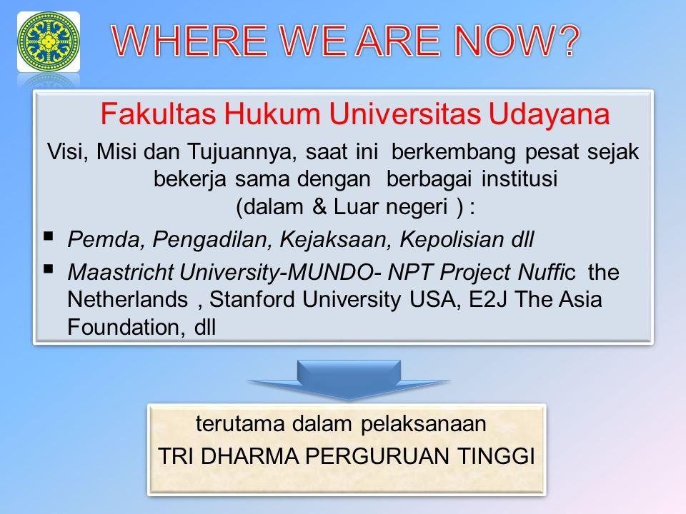 Fakultas Hukum Universitas Udayana Visi, Misi dan Tujuannya, saat ini berkembang pesat sejak bekerja sama dengan berbagai institusi (dalam & Luar nege