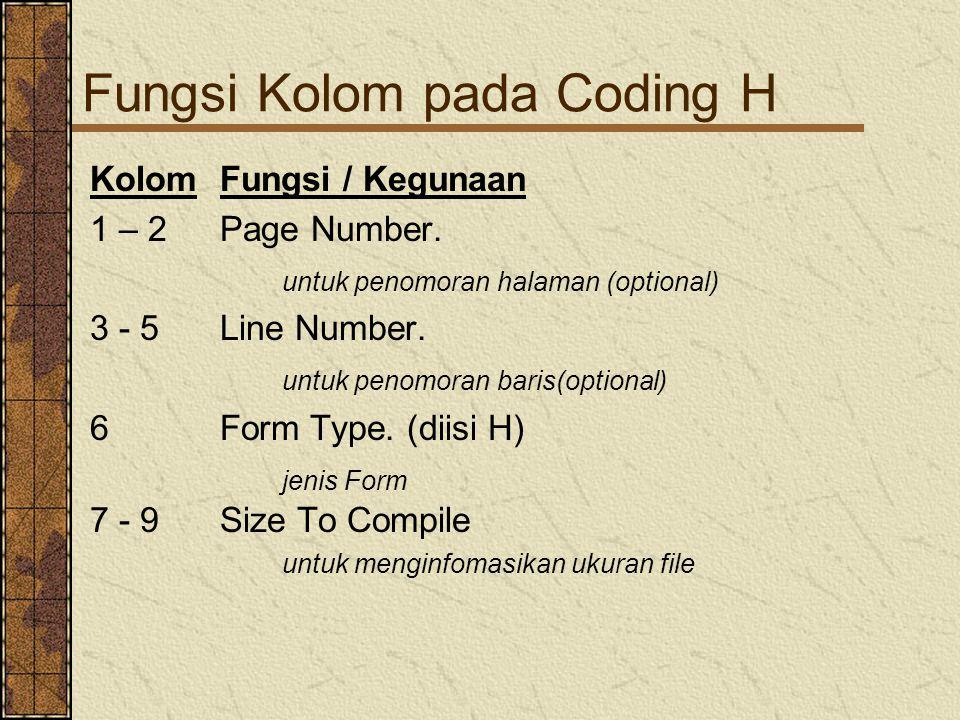 Fungsi Kolom pada Coding H KolomFungsi / Kegunaan 1 – 2Page Number.