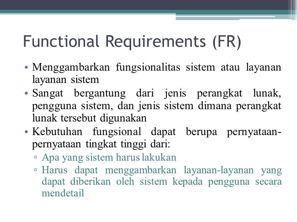 Functional Requirements (FR) Menggambarkan fungsionalitas sistem atau layanan layanan sistem Sangat bergantung dari jenis perangkat lunak, pengguna si