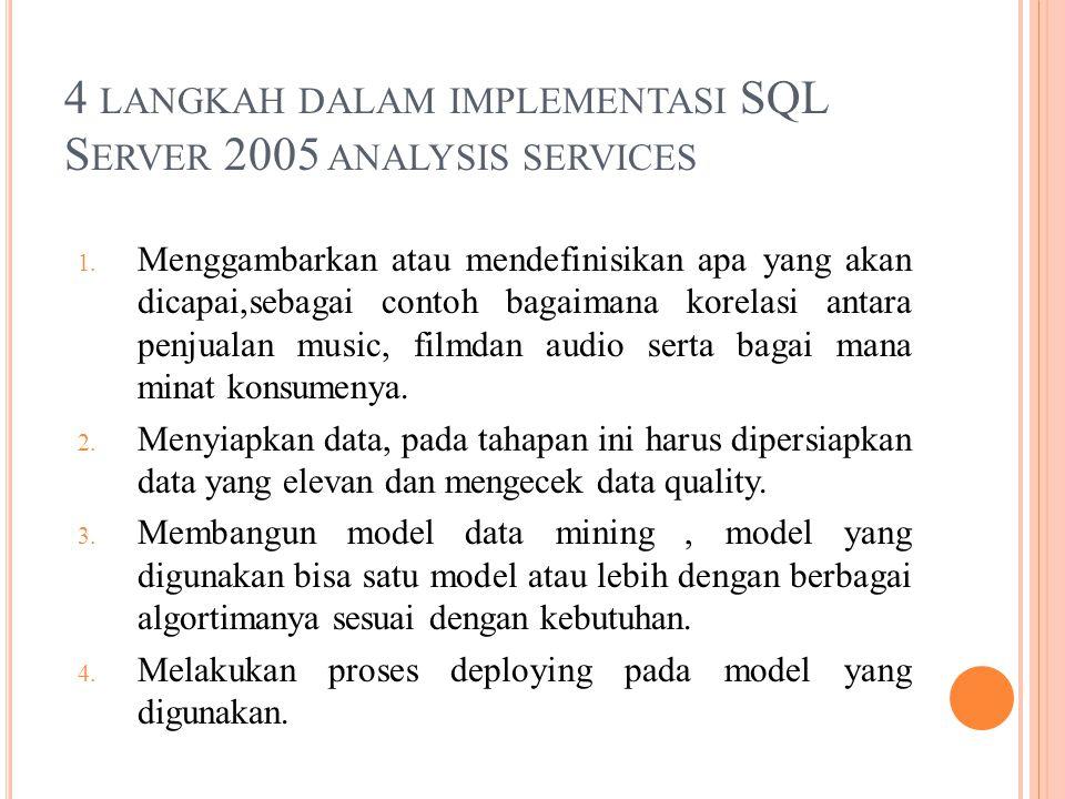 4 LANGKAH DALAM IMPLEMENTASI SQL S ERVER 2005 ANALYSIS SERVICES 1.