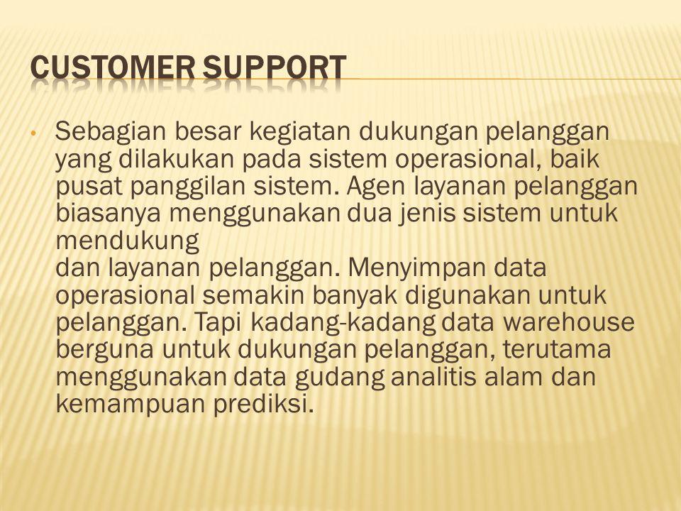Sebagian besar kegiatan dukungan pelanggan yang dilakukan pada sistem operasional, baik pusat panggilan sistem. Agen layanan pelanggan biasanya menggu