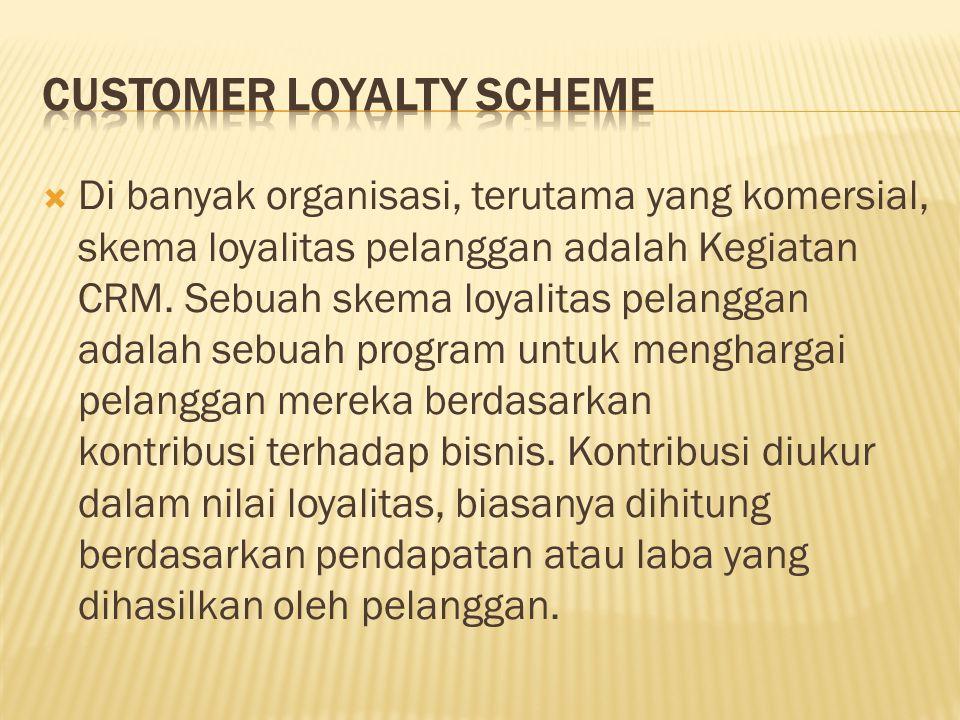  Di banyak organisasi, terutama yang komersial, skema loyalitas pelanggan adalah Kegiatan CRM. Sebuah skema loyalitas pelanggan adalah sebuah program