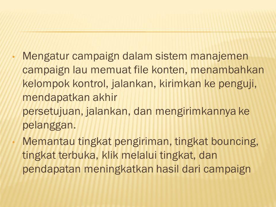 Mengatur campaign dalam sistem manajemen campaign lau memuat file konten, menambahkan kelompok kontrol, jalankan, kirimkan ke penguji, mendapatkan akh