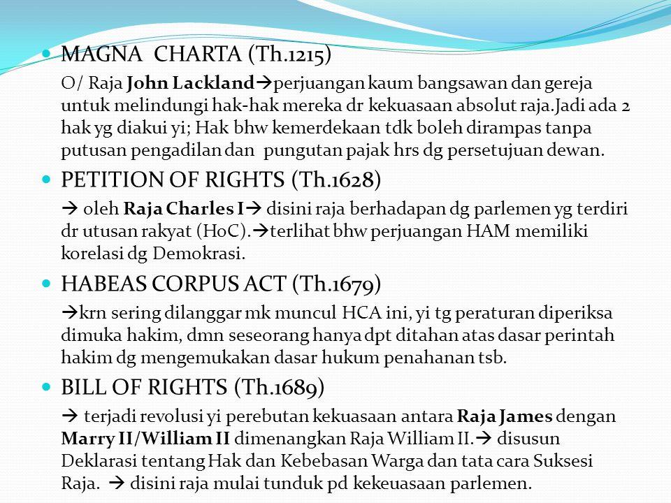 Perkembangan Konseptual HAM Sejak Jaman dahulu dalam kitab suci Yunani dan Romawi  konsep hak (rights) dlm yurisprodensi Romawi  masuk dlm etika huk