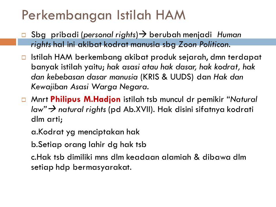 Istilah HAM  Berasal dari 3 kata, Hak, Asasi dan Manusia  Hak = berasal dr Bahasa Arab haqqa, yahiqqu,haqqaan yg artinya benar,pasti,nyata, tetap da
