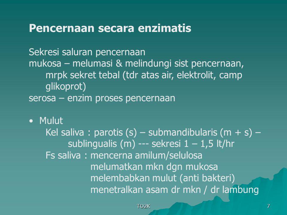TO2K 8 Esofagus : kel komposita – mukosa Lambung bag mukosa dr korpus & fundus lambung --- tdp kel gastrik, yg tdr :bag parietal – HCl bag peptik – enzim bag leher – mukus bag pilorus – sedikit sel peptik & parietal, banyak tdp mukus utk melindungi dinding lambung bag mukosa antrum – hormon gastrin Pepsinogen – inaktif --- + (HCl & pepsin) --- aktif : hidrolisis ik peptida antara as amino yg tdp phenil (tir, phe) & as dikarbosilat (glu, asp) tjd mekanisme umpan balik jika pH lambung = 2 --- sekresi gastrin berhenti