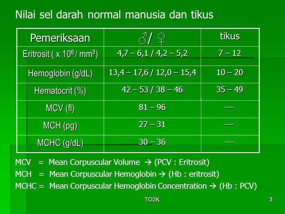 TO2K4 Janin  0-2 bln (yolk sac) ; 2-7 bln (hati & limpa) ; 7-9 bln (sumsum tulang belakang) Bayi  sumsum tulang Dewasa  sumsum tulang pipih (iga, dada, belikat, panggul, tengkorak, vertebrae, serta proksimal tulang paha & lengan atas) Eritrosit diproduksi oleh sumsum tulang sampai seseorang berusia 5 th, namun sumsum tulang panjang (kecuali proksimal humerus dan tibia) menjadi sangat berlemak dan tidak memproduksi eritrosit setelah seseorang berusia 20 tahun.