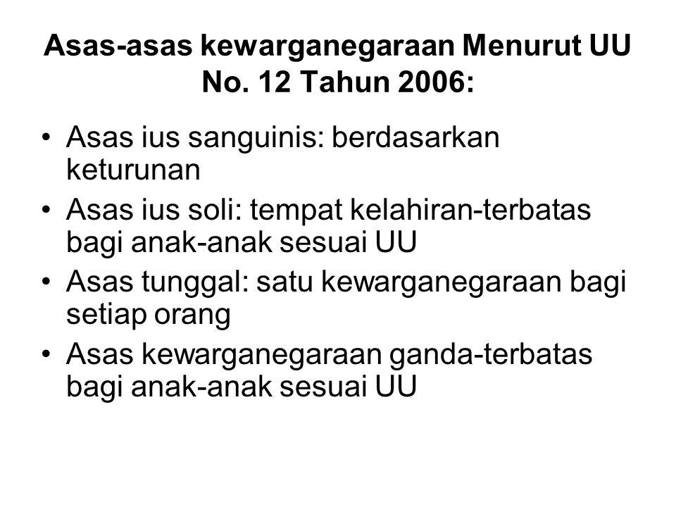 Asas-asas kewarganegaraan Menurut UU No.