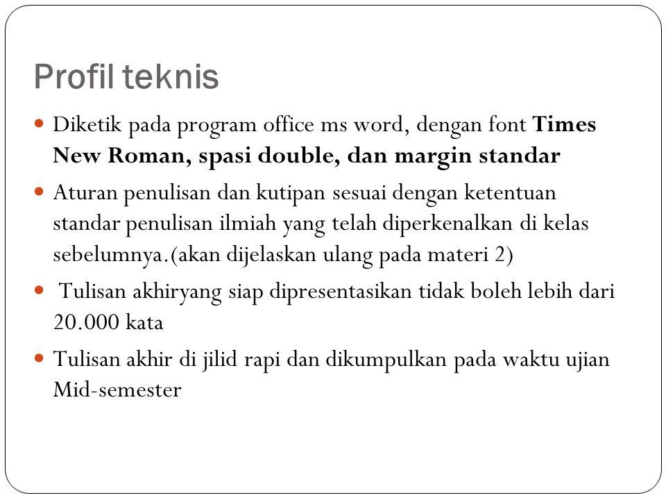 Profil teknis Diketik pada program office ms word, dengan font Times New Roman, spasi double, dan margin standar Aturan penulisan dan kutipan sesuai d