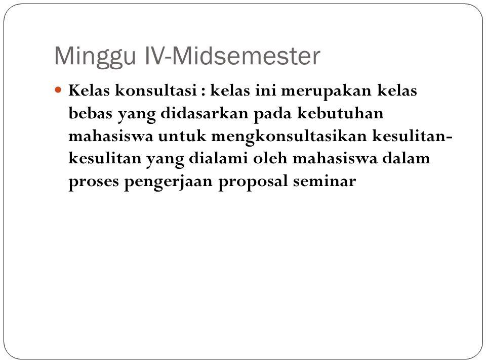 Minggu IV-Midsemester Kelas konsultasi : kelas ini merupakan kelas bebas yang didasarkan pada kebutuhan mahasiswa untuk mengkonsultasikan kesulitan- k
