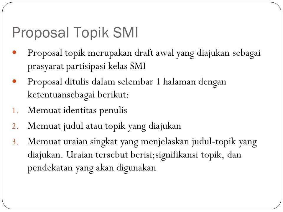 Proposal Topik SMI Proposal topik merupakan draft awal yang diajukan sebagai prasyarat partisipasi kelas SMI Proposal ditulis dalam selembar 1 halaman