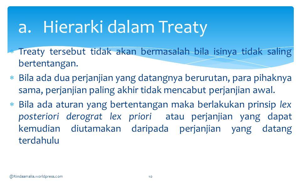  Treaty tersebut tidak akan bermasalah bila isinya tidak saling bertentangan.  Bila ada dua perjanjian yang datangnya berurutan, para pihaknya sama,