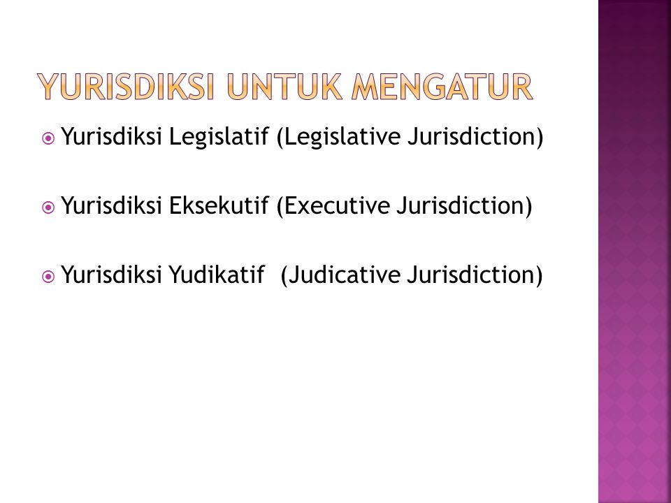  Yurisdiksi Legislatif (Legislative Jurisdiction)  Yurisdiksi Eksekutif (Executive Jurisdiction)  Yurisdiksi Yudikatif (Judicative Jurisdiction)