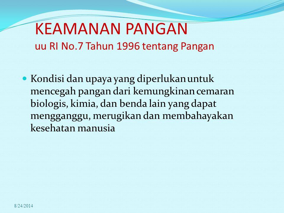 KEAMANAN PANGAN uu RI No.7 Tahun 1996 tentang Pangan Kondisi dan upaya yang diperlukan untuk mencegah pangan dari kemungkinan cemaran biologis, kimia,