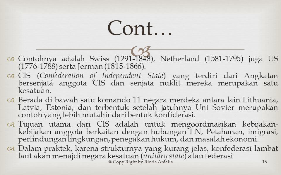   Contohnya adalah Swiss (1291-1848), Netherland (1581-1795) juga US (1776-1788) serta Jerman (1815-1866).