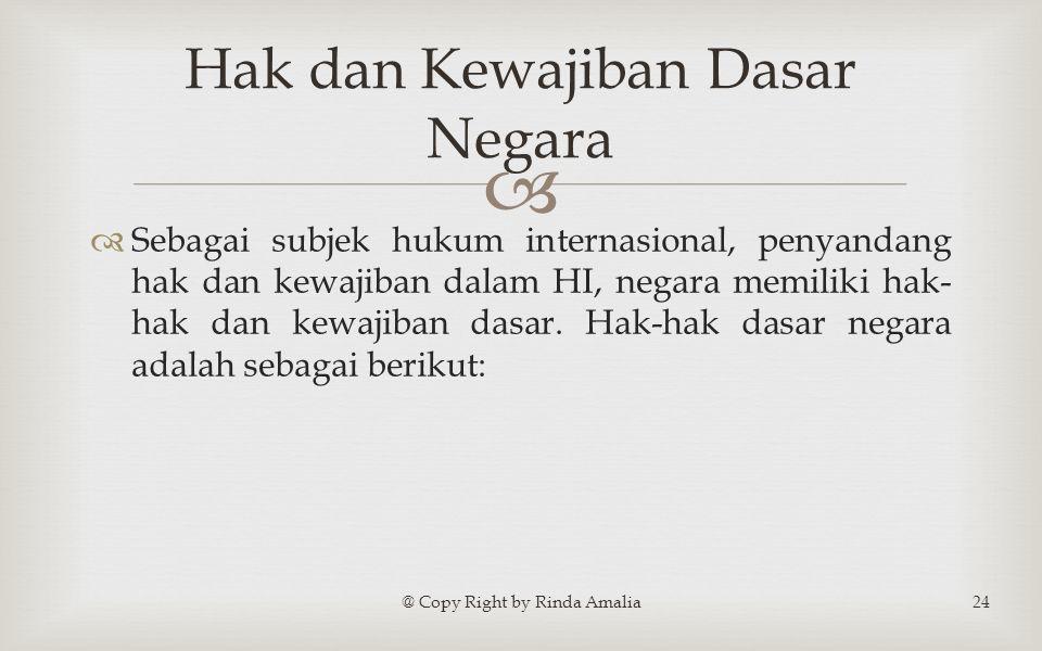   Sebagai subjek hukum internasional, penyandang hak dan kewajiban dalam HI, negara memiliki hak- hak dan kewajiban dasar.