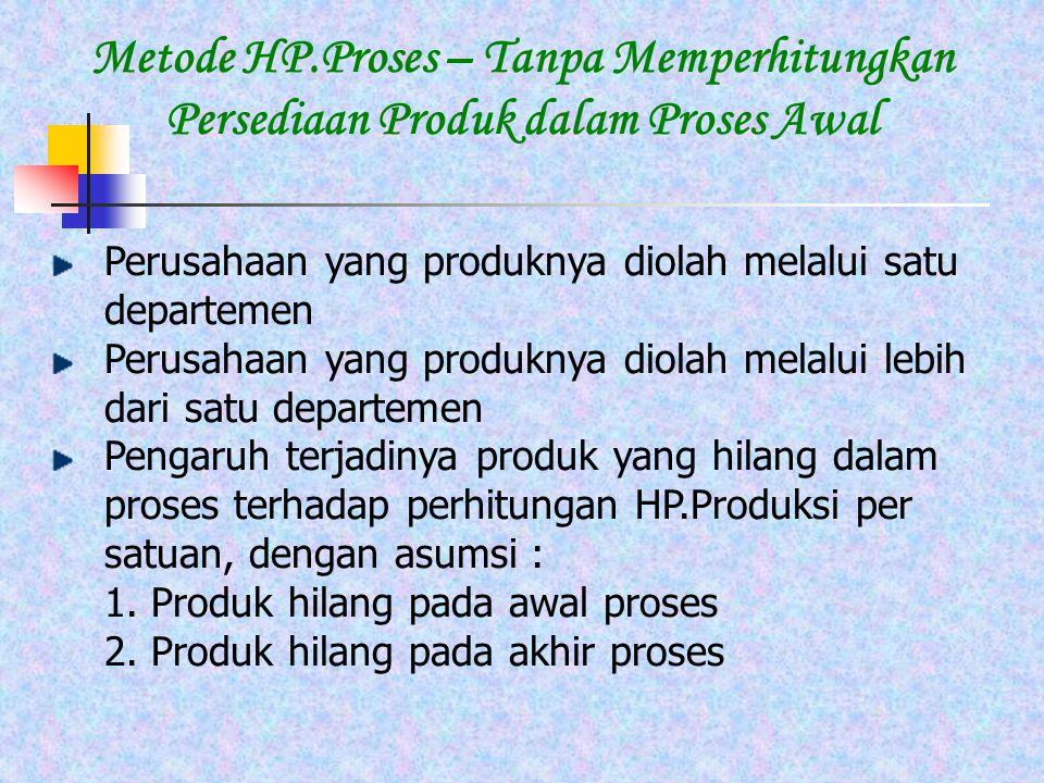 Metode HP.Proses – Tanpa Memperhitungkan Persediaan Produk dalam Proses Awal Perusahaan yang produknya diolah melalui satu departemen Perusahaan yang produknya diolah melalui lebih dari satu departemen Pengaruh terjadinya produk yang hilang dalam proses terhadap perhitungan HP.Produksi per satuan, dengan asumsi : 1.