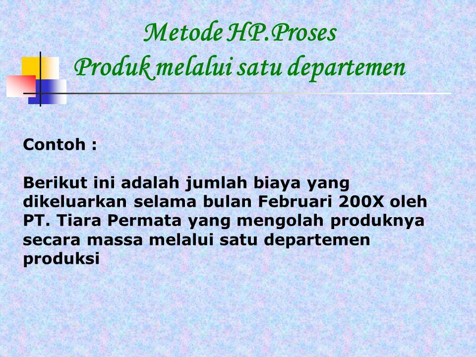Metode HP.Proses Produk melalui satu departemen Contoh : Berikut ini adalah jumlah biaya yang dikeluarkan selama bulan Februari 200X oleh PT. Tiara Pe
