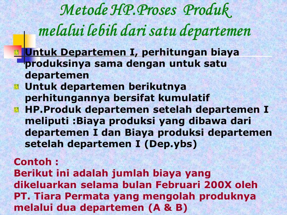 Metode HP.Proses Produk melalui lebih dari satu departemen Contoh : Berikut ini adalah jumlah biaya yang dikeluarkan selama bulan Februari 200X oleh PT.