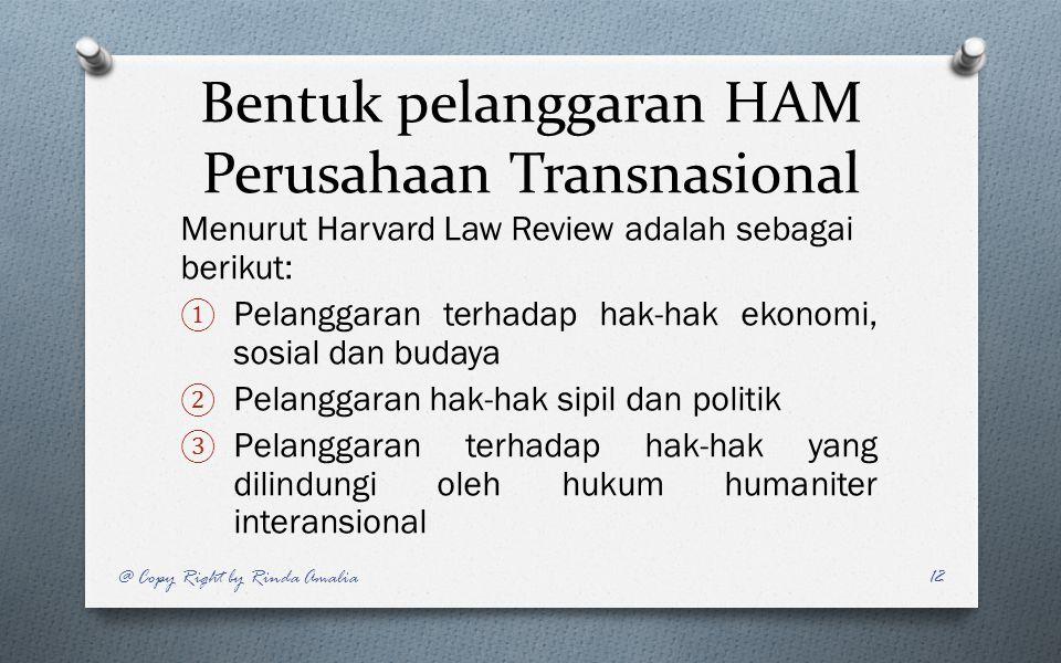 Bentuk pelanggaran HAM Perusahaan Transnasional Menurut Harvard Law Review adalah sebagai berikut: ① Pelanggaran terhadap hak-hak ekonomi, sosial dan